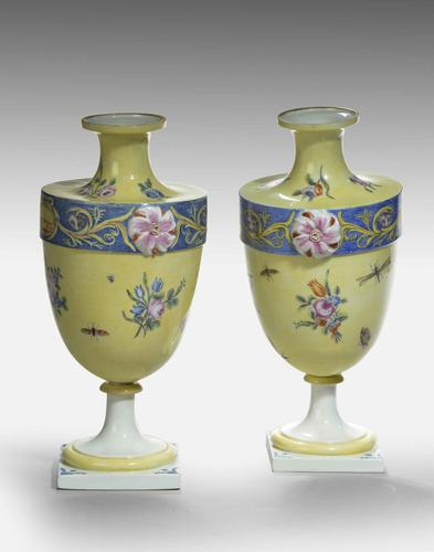 Rare Pair of 18th Century Bueno Retiro Pale Yellow Ground Vases (1 of 3)