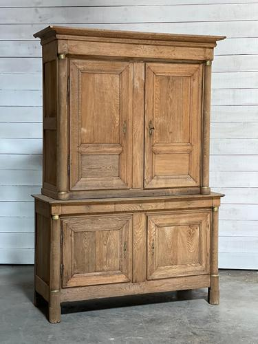 Wonderful French Empire Period Bleached Oak Linen Press (1 of 32)