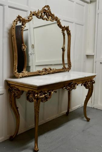 19th Century French Marble Top Gilt Centre Table & Matching Wall Mirror (1 of 11)