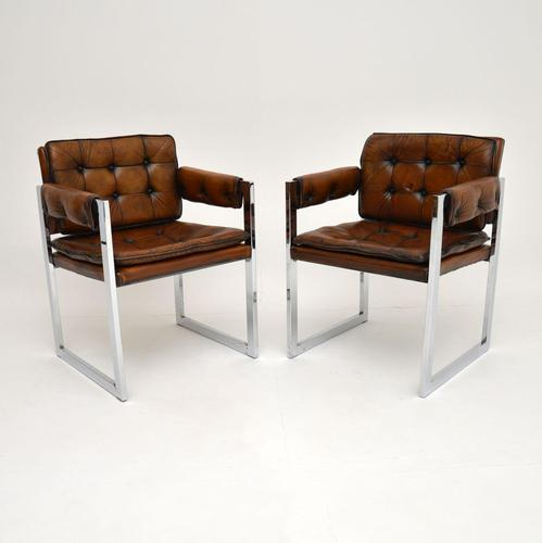 Pair of Vintage Leather & Chrome Armchairs (1 of 15)