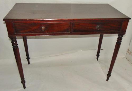 Georgian Mahogany Two Drawer Side Table (1 of 7)