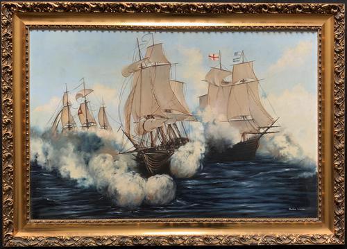 Large Fabulous Vintage 20th Century Maritime Naval Battle Ships Seascape Oil Painting (1 of 12)