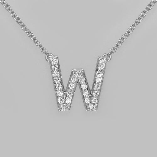 """Vintage Tiffany & Co. Platinum 950 Diamond Letter """"W"""" Necklace with Pouch Initial Pendant (1 of 7)"""