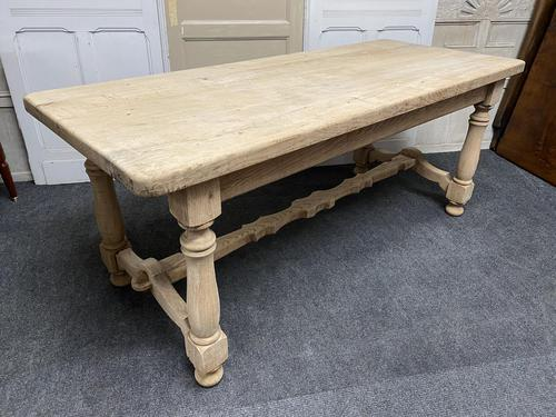 French Rustic Bleached Oak Farmhouse Kitchen Table (1 of 23)