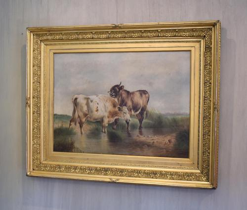 Large Oil Painting by William Perring Hollyer Titled 'Courtship' (1 of 10)