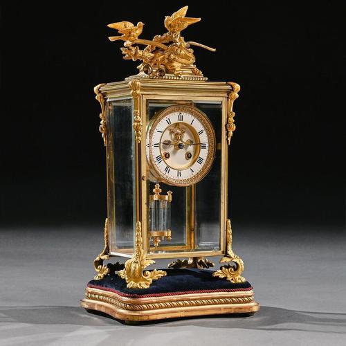 French 8 Day Striking Four Glass Ormolu Clock by Samuel Marti Paris, 19th Century (1 of 11)