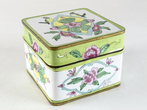 Antique Canton Painted Enamel Lidded Box (1 of 6)