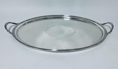 Large Antique Georgian 18th Century Solid Sterling Silver Twin Handled Tray (1 of 15)