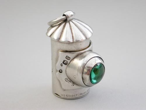 Victorian Novelty Silver Policeman's Bullseye Lantern Vinaigrette by Henry William Dee, London, 1872 (1 of 13)