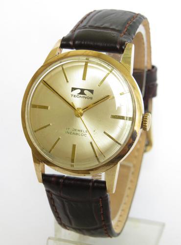 Gents 9ct Gold Technos Wrist Watch, 1974 (1 of 5)
