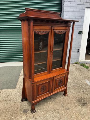 Antique Arts & Crafts Carved Walnut Bookcase (1 of 13)