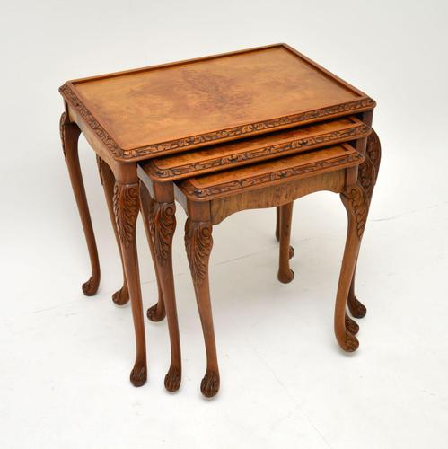 Queen Anne Style Burr Walnut Nest of Tables c.1930 (1 of 9)