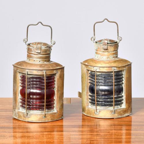 Pair of Original Victorian Brass Ship Lanterns (1 of 6)