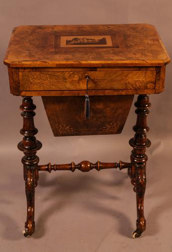 Good Victorian Ladies Sewing Table inlaid with castle ruins (1 of 10)