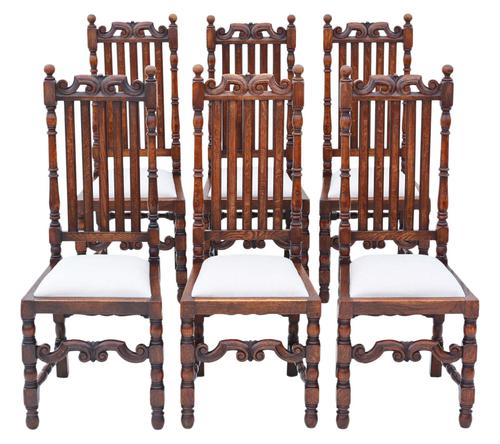 Set of 6 Oak Dining Chairs C1915 Charles II Style (1 of 5)