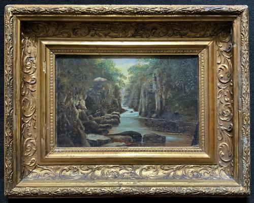 Small Original 19th Century Victorian Woodland River Landscape Oil Painting (1 of 12)