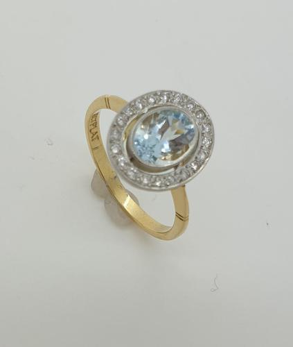 18ct Aquamarine Diamond Halo Cluster (1 of 4)
