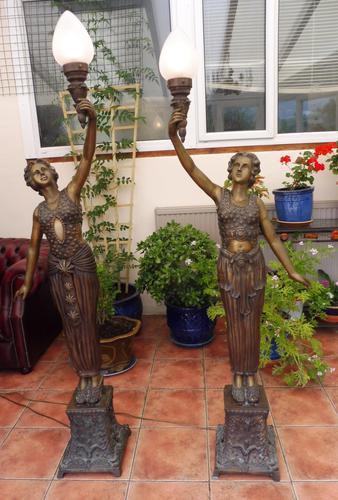 2 Bronze Art Nouveau Style Lamps (1 of 12)