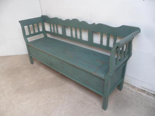 Lovely Emerald Green 3 Seater Antique Pine Kitchen / Hall Box Settle / Bench (1 of 10)