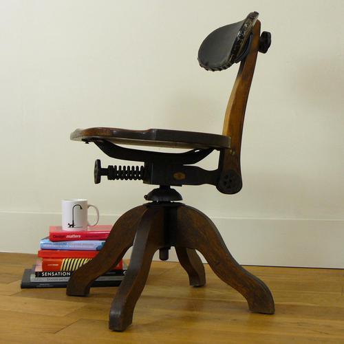 Early 20th Century Industrial Swivel Oak Work Chair (1 of 16)