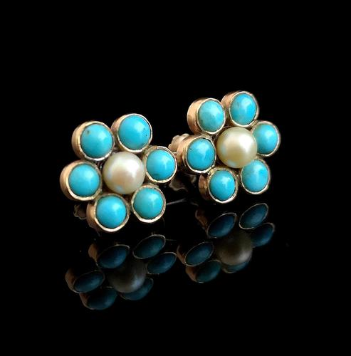 Antique Turquoise & Pearl Flower Earrings, 9ct Gold (1 of 13)