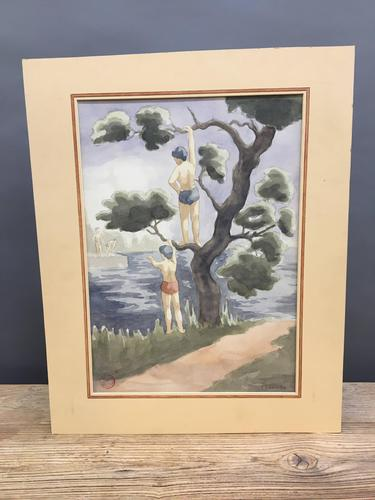 "Watercolour ""Bathers"", by Joseph Smedley (1 of 6)"