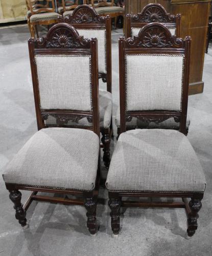 1920s Set of 4 Dark Walnut Highback Chairs in Grey (1 of 4)