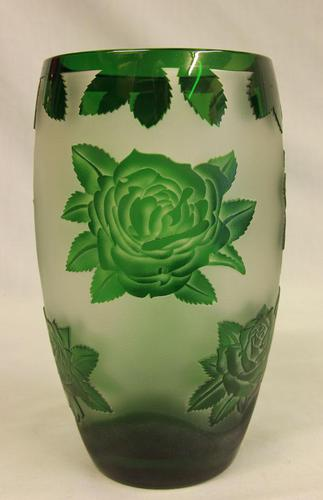Green Glass Cameo Vase (1 of 5)