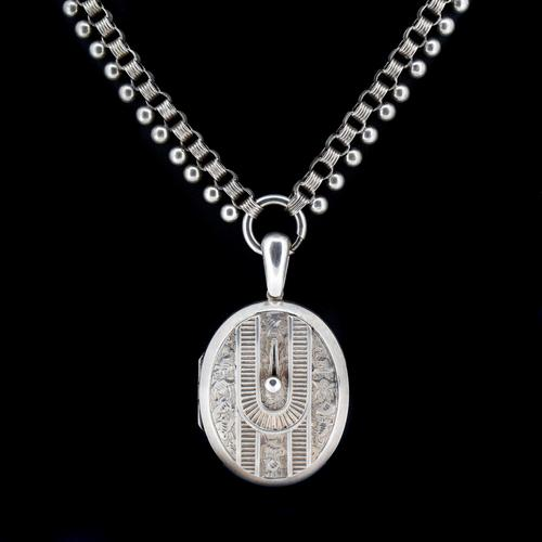 Antique Victorian Aesthetic Large Sterling Silver Locket & Collar Necklace (1 of 8)