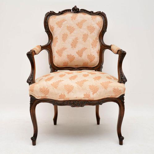 Antique French Carved Walnut Salon Armchair (1 of 10)