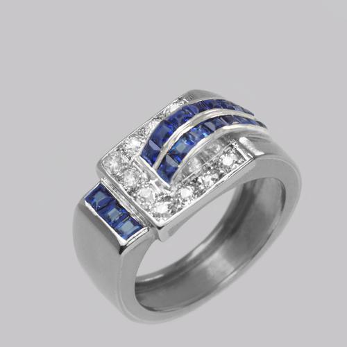 Diamond & Sapphire Art Deco Ring 18ct Gold 1930's Vintage Large Retro Dress Ring (1 of 11)