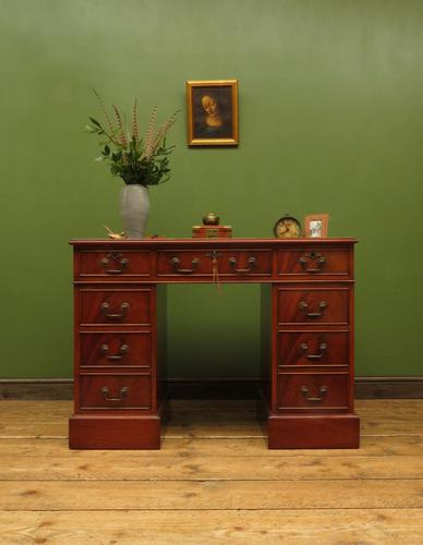 Small Antique Reproduction Pedestal Desk with Leather top, Brights of Nettlebed (1 of 10)