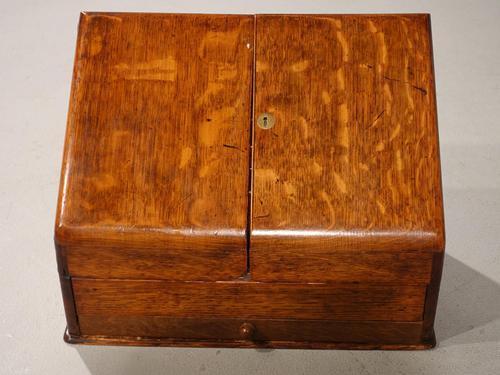 Beautifully Figured Late 19th Century Golden Oak Writing Box (1 of 8)