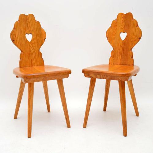 Pair of Vintage Alpine Side Chairs in Solid Elm (1 of 4)