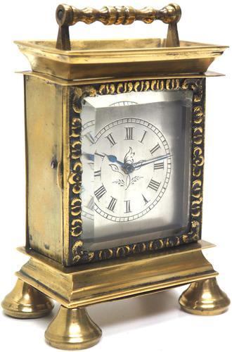 Rare Little Verge Carriage Clock Timepiece, Ormolu cased Silver Dial Mantel Clock (1 of 9)