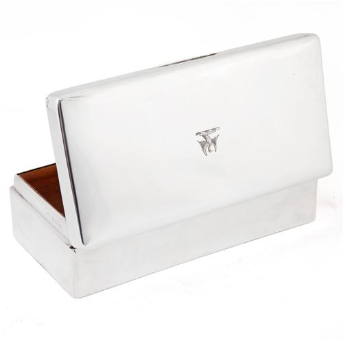 Adie Brothers Silver Cigar or Cigarette Box with a Hinged Crested Solid Lid (1 of 5)