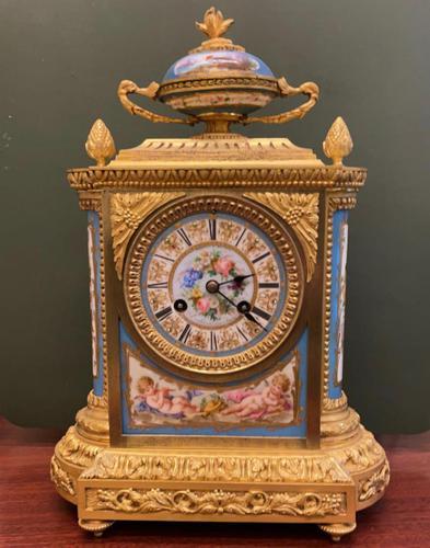 19th Century Ormolu & Painted Porcelain Striking 8-day Mantel Clock (1 of 7)