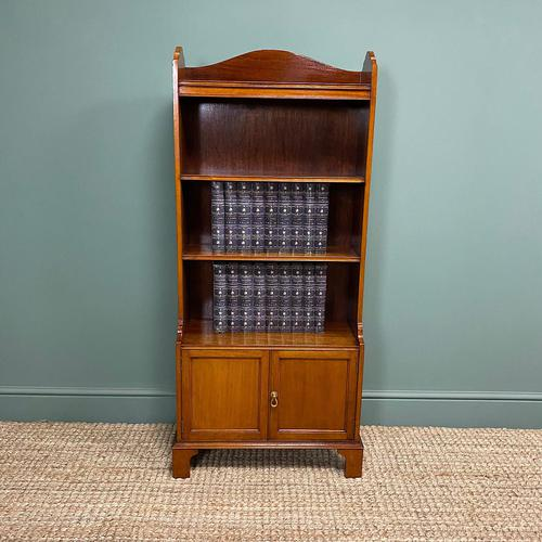 Quality Small Edwardian Figured Mahogany Antique Waterfall Bookcase (1 of 6)