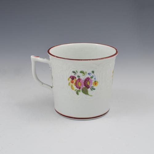 Coalport Porcelain Dulong Blind Moulded Floral Coffee Can c.1815 (1 of 8)