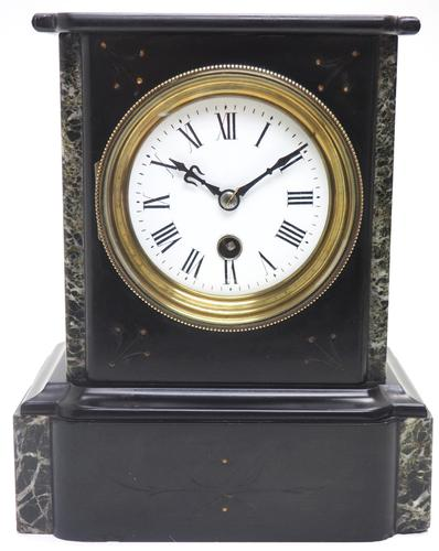 Antique French Slate & Marble Mantel Clock 8 Day Mantle Clock (1 of 9)