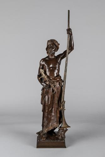 Magnificent 19th Century French Bronze Sculpture of Arabian Sentinel, Signed J.Angles (1 of 19)