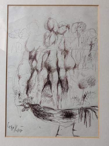 Original Ink Drawing 'Group of Nudes, Rooster & Dandelion' Signed & Dated 1967 (1 of 6)