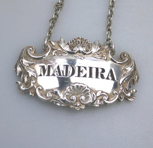 Good Victorian Solid Silver Pierced Madeira Wine Decanter Label Ticket c.1840 (1 of 4)