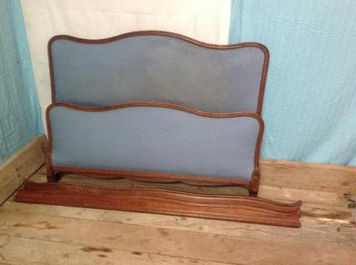 Vintage French Walnut 5ft 155cm Capitone Double King Size Bed (1 of 6)