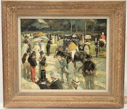 Circle of Julien Dumont - Oil on Board - 'Longchamp Races, Paris' (1 of 3)