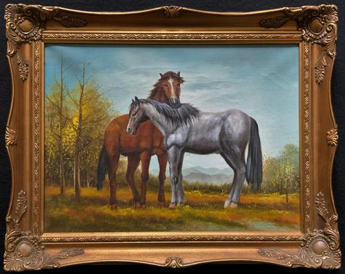 Original Signed 20th Century Vintage Horse & Foal Equestrian Oil on Canvas Painting (1 of 10)
