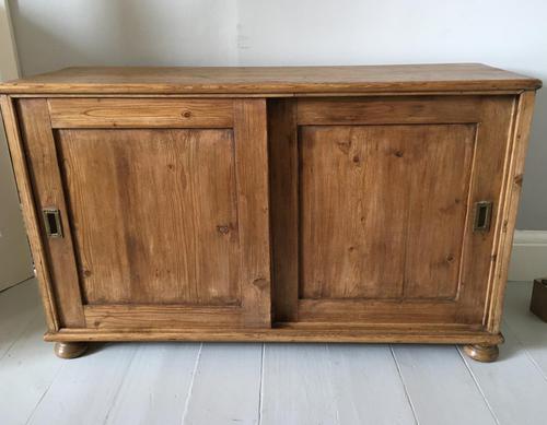 Pine Low Sliding Door Cupboard (1 of 7)