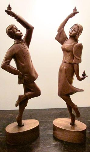 Pair of Large Hand Carved 1950's Asian Dancing Figures (1 of 5)