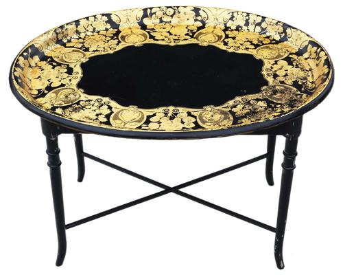 Victorian Decorated Black Lacquer Tray on Stand Coffee Table (1 of 11)