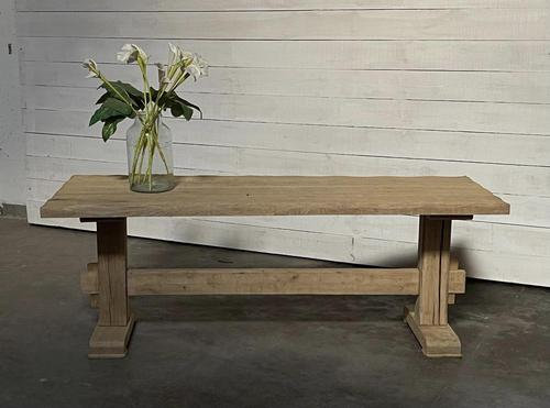Primitive French Bleached Oak Farmhouse Dining Table (1 of 20)